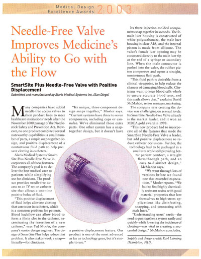 Needle-Free Valve Improves Medicine's Ability to Go with the Flow